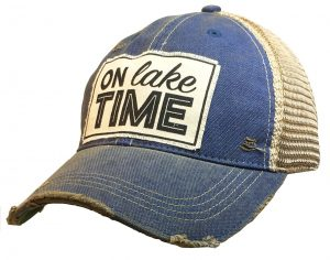 Vintage Life Distressed Trucker Hat: On Lake Time $25.00