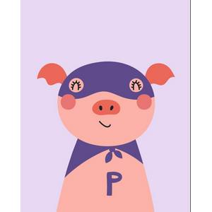 Pink Picasso Kids Super Hero Pig Paint by Number Kit